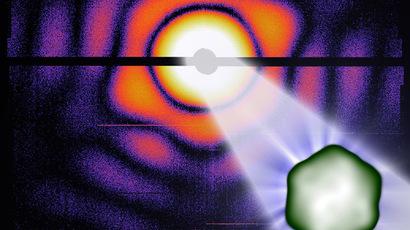 Illustration of a carboxysome in the X-ray laser. (Max Hantke / Uppsala University)