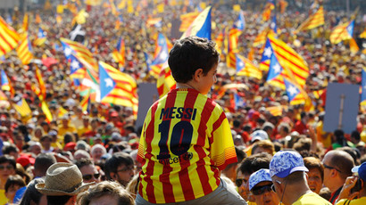 Red and yellow Barcelona: 2 million rally for Catalonia independence