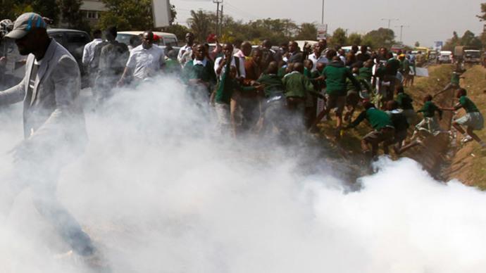 Kenya police teargas children in playground