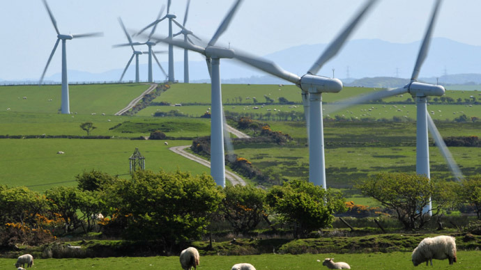 A windfarm is seen on Anglesey, north Wales (Reuters/Toby Melville)