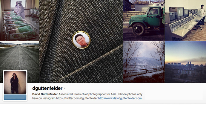 A screenshot of instagram page of David Guttenfelder Associated Press chief photographer for Asia.