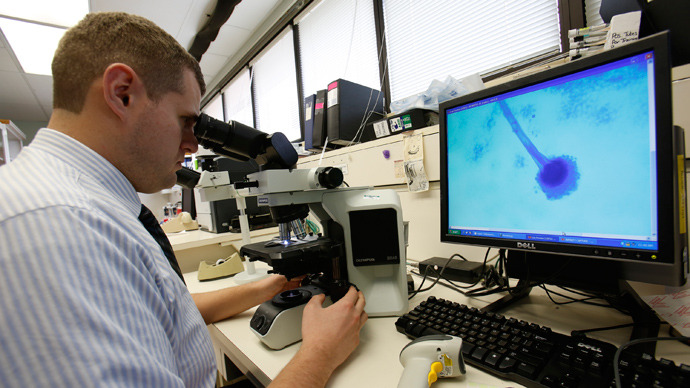 Dr Jonathan Schmitz examines a sample of Aspergillus fumigatus, the first fungus diagnosed in the fungal meningitis outbreak sweeping the United States (Reuters / Harrison McClary)