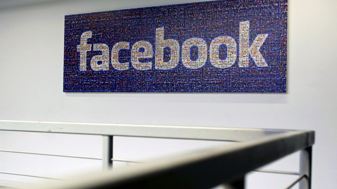 The Facebook logo is pictured in the Facebook headquarters in Menlo Park, California (Reuters/Robert Galbraith)
