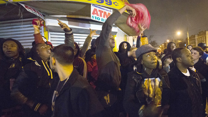 Demonstrators chant while protesting the shooting of 16-year-old Kimani Gray by New York Police, in the Brooklyn borough of New York, March 11, 2013.  (Reuters/Lucas Jackson)