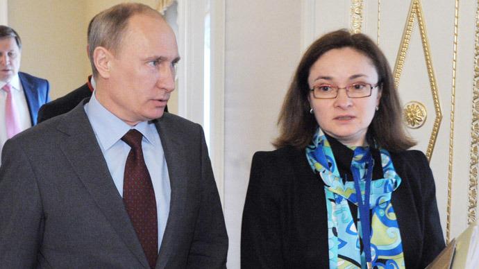 Vladimir Putin and Elvira Nabiullina (RIA Novosti / Alexey Nikolsky)