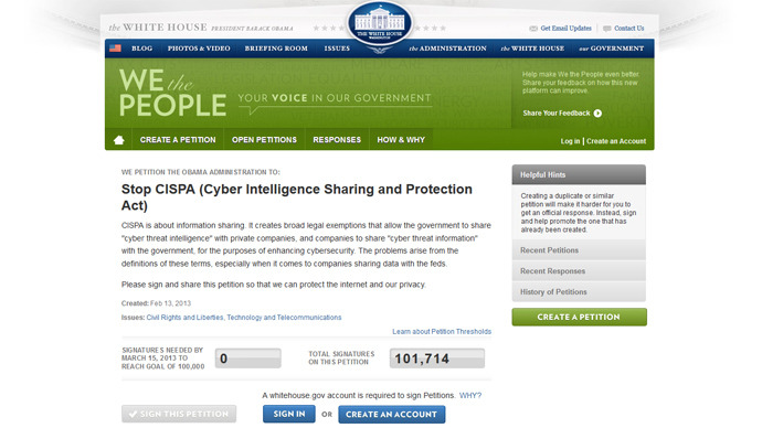 Screenshot from petitions.whitehouse.gov