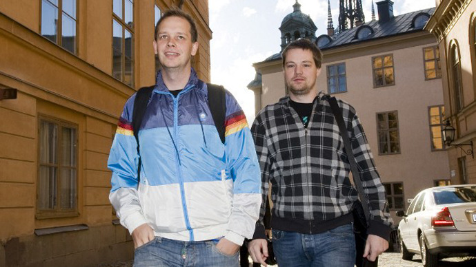 Two of the co-founders of the file-sharing website, The Pirate Bay, Fredrik Neij (R) and Peter Sunde. (AFP Photo / Jonathan Nackstrand)