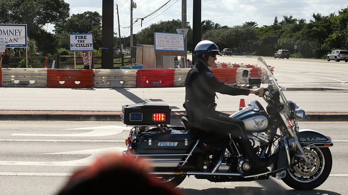 A motorcycle police officer Florida.(AFP Photo / Justin Sullivan)