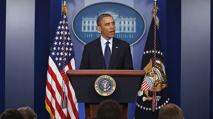 U.S. President Barack Obama speaks about  bombing at the Boston Marathon in Washington, DC (AFP Photo /  Mark Wilson)