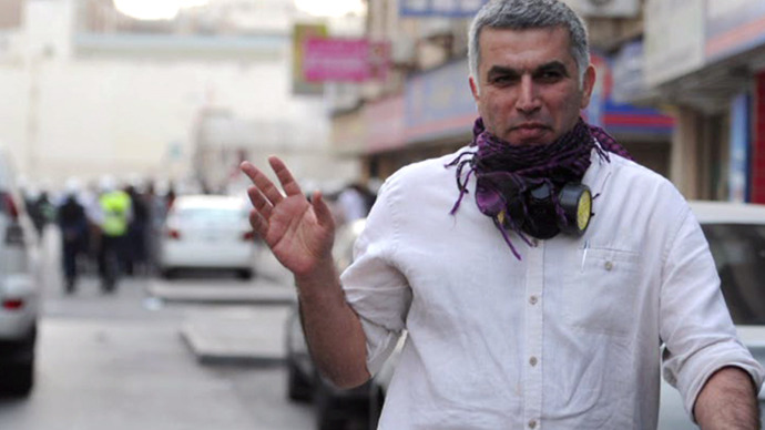 Bahrain human rights activist Nabeel Rajab. (An image grab taken from a RT video)