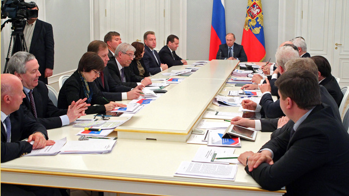 Vladimir Putin during a meeting on economic issues at Bocharov Ruchei state residence in Sochi (RIA Novosti /