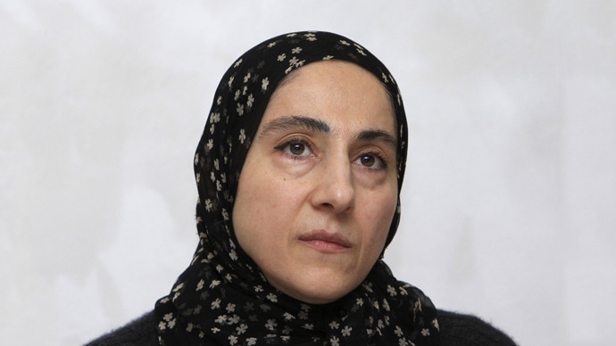 Zubeidat Tsarnaeva, mother of Tamerlan and Dzhokhar Tsarnaev - the two men suspected of carrying out the Boston bombings, attends a news conference in Makhachkala April 25, 2013. (Reuters)