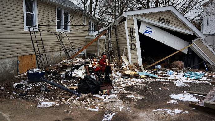 A destroyed by Superstorm Sandy home is viewed in Oakwood Beach in Staten Island on February 5, 2013 in New York City. (AFP Photo / Spencer Platt)