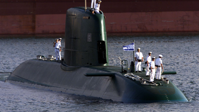 Israeli new Dolphin-class submarine entry's Haifa port (Reuters)