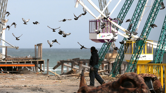 Birds take to flight as a worker cleans debris from the Fun Town Pier that was damaged by Superstorm Sandy, February 19, 2013 in Seaside Heights, New Jersey (AFP Photo / Mark Wilson)