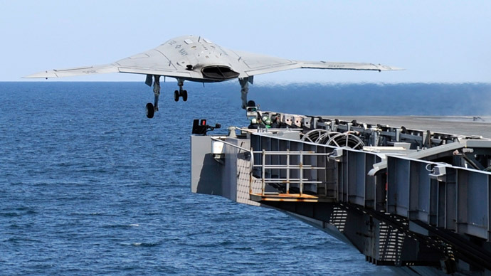 This May 14, 2013 US Navy handout image shows an X-47B Unmanned Combat Air System (UCAS) demonstrator launching from the deck of the aircraft carrier USS George H.W. Bush (CVN 77) during flight operations in the Atlantic Ocean. (US Navy courtesy of Northrop Grumman /Alan Radecki)