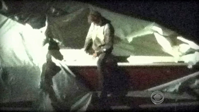 This image obtained April 19, 2013 courtesy CBS News shows Dzhokhar Tsarnaev, a suspect in the Boston Marathon bombing who was captured Friday night, April 19, 2013 after he was found hiding in a boat in a Boston suburb. (AFP/CBS NEWS)