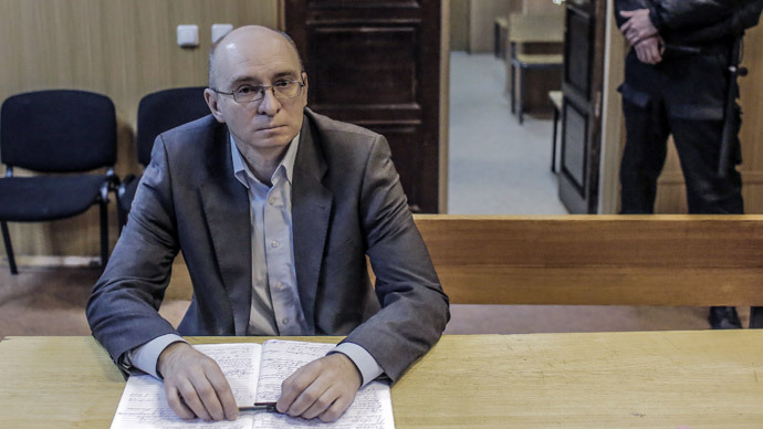 Dmitry Kratov, former deputy head of the Butyrka Detention Facility listens to his verdict at the Tverskoi Court of Moscow. Dmitry Kratov is charged with improper execution of duties that resulted in the death of lawyer Sergei Magnitsky. (RIA Novosti)