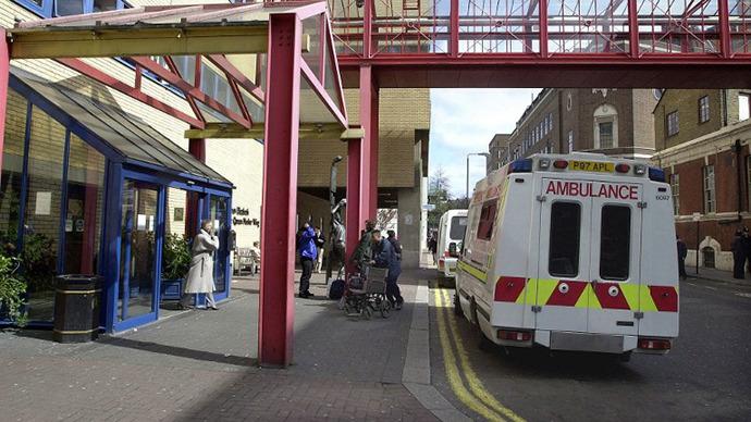 The front entrance to St. Mary's Hospital, Paddington, London. (AFP Photo / Martin Hathow)