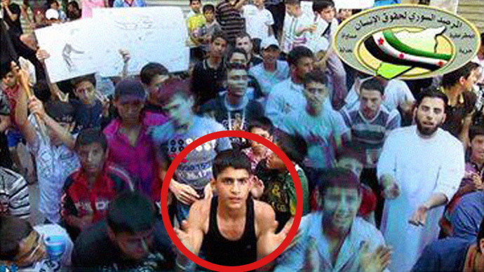 15-year-old Mohammad Qataa during a pro-democracy protest in Aleppo. Image from www.facebook.com/syriaohr