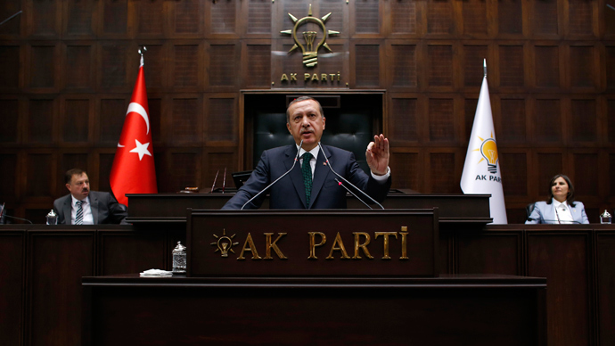 Turkey's Prime Minister Tayyip Erdogan addresses members of parliament from his ruling AK Party (AKP) during a meeting at the Turkish parliament in Ankara June 11, 2013 (Reuters / Umit Bektas)
