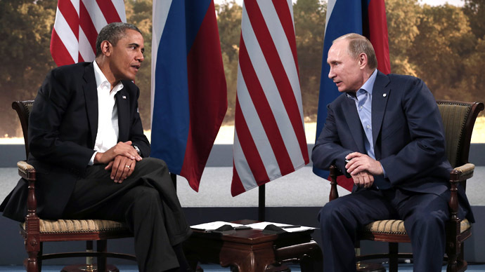 U.S. President Barack Obama meets with Russian President Vladimir Putin during the G8 Summit at Lough Erne in Enniskillen,  Northern Ireland June 17, 2013. (Reuters / Kevin Lamarque)