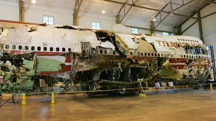 The remains of the TWA Flight 800 from New York to Paris that exploded off Long Island, New York, reassembled from recovered wreckage, is on display at National Transportation Safety Board (NTSB) Training Facility in Ashburn, Virginia (Reuters / Hyungwon Kang)