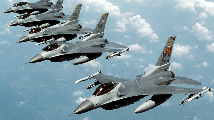 Five U.S. Air Force F-16 fighter jets (Reuters/USAF/Staff Sgt. Greg L. Davis)