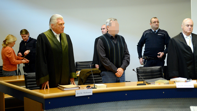 German codenamed Andreas Anschlag stands at court on January 15, 2013 in Stuttgart, southern Germany (AFP Photo)