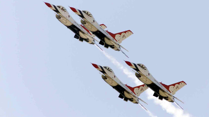 The U.S. Air Force Thunderbirds aerial demonstration team fly (Reuters / Joe Piccorossi)