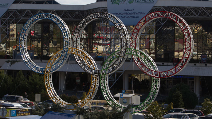 The five Olympic rings installed in front of the Sochi Airport. (RIA Novosti/Mihail Mokrushin)