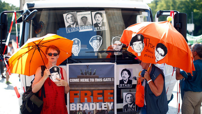 Protesters attend a demonstration against secret monitoring programmes PRISM, TEMPORA, INDECT and showing solidarity with whistleblowers Edward Snowden, Bradley Manning and others in Berlin July 27, 2013 (Reuters / Pawel Kopczynski)