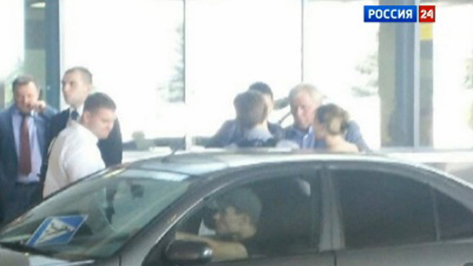 Rossiya 24's photo of Edward Snowden leaving Sheremetyevo Airport (Video still from http://www.vesti.ru)