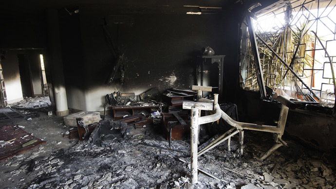 A picture shows the interior of the burnt US consulate building in the eastern Libyan city of Benghazi on September 13, 2012 following an attack on the building late on September 11 in which the US ambassador to Libya and three other US nationals were killed. (AFP Photo/Gianluigi Guercia)