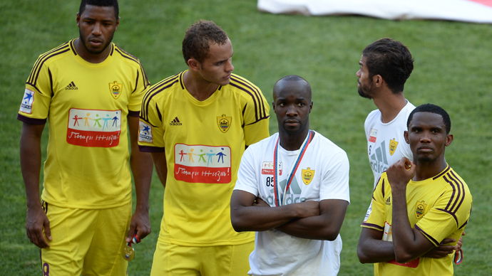(L-R) Anji's Jucilei, Ewerton, Lassana Diarra and Samuel Eto'o after losing in the final match of the 2012-2013 Russian Cup tournament between PFC CSKA Moscow and FC Anji Makhachkala (RIA Novosti / Ramil Sitdikov)