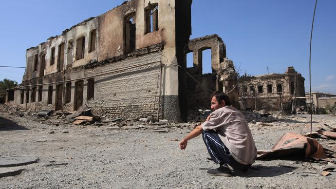 Tskhinval after Georgian bombardment (RIA Novosti / Mikhail Fomichev)