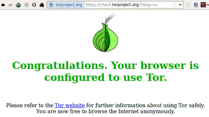 Screenshot from torproject.org