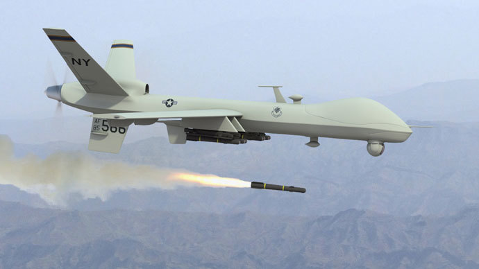 A US MQ-9 Reaper drone firing a Hellfire missile.(Photo from dronewars.net)