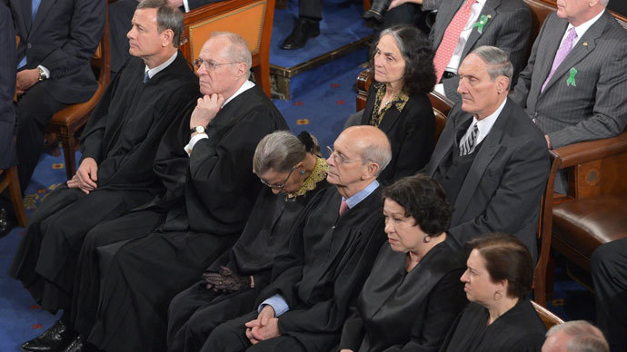 From L to R, US Supreme Court Chief Justice John Roberts and Justices Anthony Kennedy, Ruth Bader Ginsburg, Stephen Breyer, Sonia Sotomayor and Elena Kagan listen to US President Barack Obama deliver his State of the Union address before a joint session of Congress on February 12, 2013 at the Capitol in Washington.(AFP Photo / Mandel Ngan)