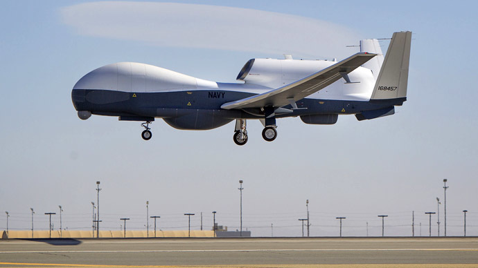 The Triton unmanned aircraft system is shown completing its first flight from the Northrop Grumman manufacturing facility in Palmdale, California in this handout photo released by the U.S. Navy May 22, 2013 (U.S. Navy photo courtesy of Northrop Grumman/Alex Evers/Handout via Reuters)