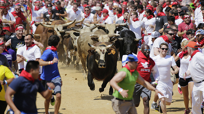 Participants run and dodge bulls in the Great Bull Run in Petersburg, Virginia August 24, 2013. (Reuters / Gary Cameron)
