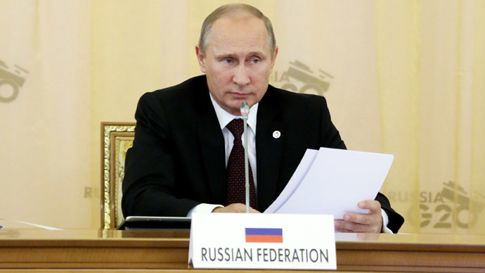 Russian President Vladimir Putin delivers his opening speech during the first working session at the G20 summit on September 5, 2013 in Saint Petersburg. (AFP Photo)