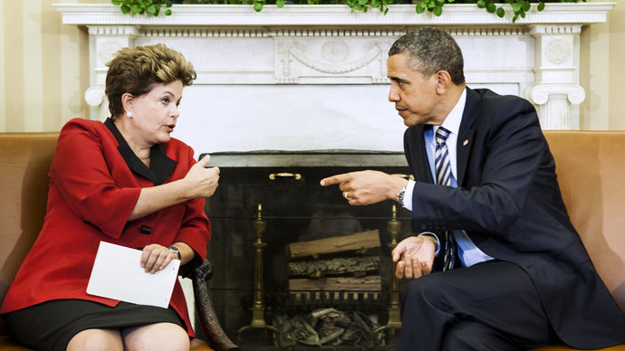 US President Barack Obama and Brazil's President Dilma Rousseff.(AFP Photo / Brendan Smialowski)