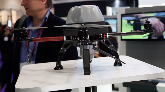 A Unmanned Aerial Systems is seen during the Defence Security Equipment International (DSEI) arms fair at ExCel in London September 10, 2013.(Reuters / Stefan Wermuth)