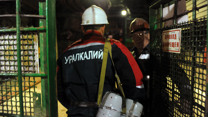A mine worker entering the hoisting cage of the third shaft at the Berezniki-4 mine of JSC Uralkali.(RIA Novosti / Pavel Lisitsyn)