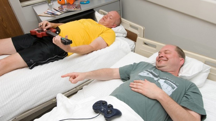Study participants have access to television, movies, video games, computers and the Internet to help them occupy their time during bed rest studies. (Image Credit: NASA)