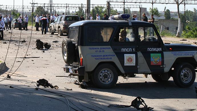 (FILE photo) Explosions near bailiff service building in Dagestan (RIA Novosti / Abdula Magomedov)