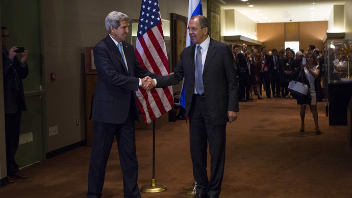 nited States Secretary of State John Kerry (L) shakes hands with Russian Foreign Minister Sergey Lavrov during the UN General Assembly at UN Headquarters in New York September 24, 2013. (Reuters/Eric Thayer)
