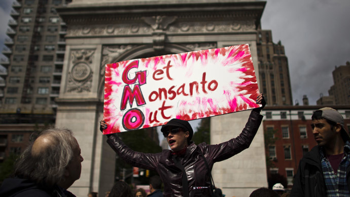 A woman holds up a poster during a protest against U.S.-based Monsanto Co. and genetically modified organisms (GMO), in New York May 25, 2013. (Reuters/Eduardo Munoz)