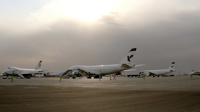 Iran Air passenger planes sit on the tarmac of the domestic Mehrabad airport in the Iranian capital Tehran (AFP Photo/Behrouz Mehri)